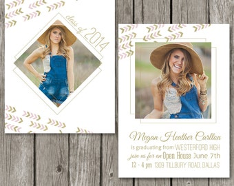 Senior Announcement Template - Senior Graduation Invitation Photo Card - College Graduation - Photoshop High School Invite- GA05