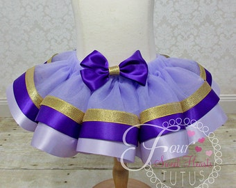 Purple and Gold Tutu with Satin Trim, First Birthday Tutu, Dance Tutu, Purple Tutu, Girl Birthday Tutu, Custom Colors Available