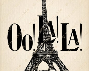 Fabric Image Transfer Instant Download - EIFFEL tower Printable - Oh La la! - PARIS clipart France French graphics Digital Scrapbooking Card