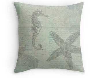 Beach Decor, Beach Cushion, Shell Throw Pillow, Ocean Decor, Seahorse, Starfish, Sea Star, Seashells, Shell Decor, Pale Blue Decor,Sea Theme
