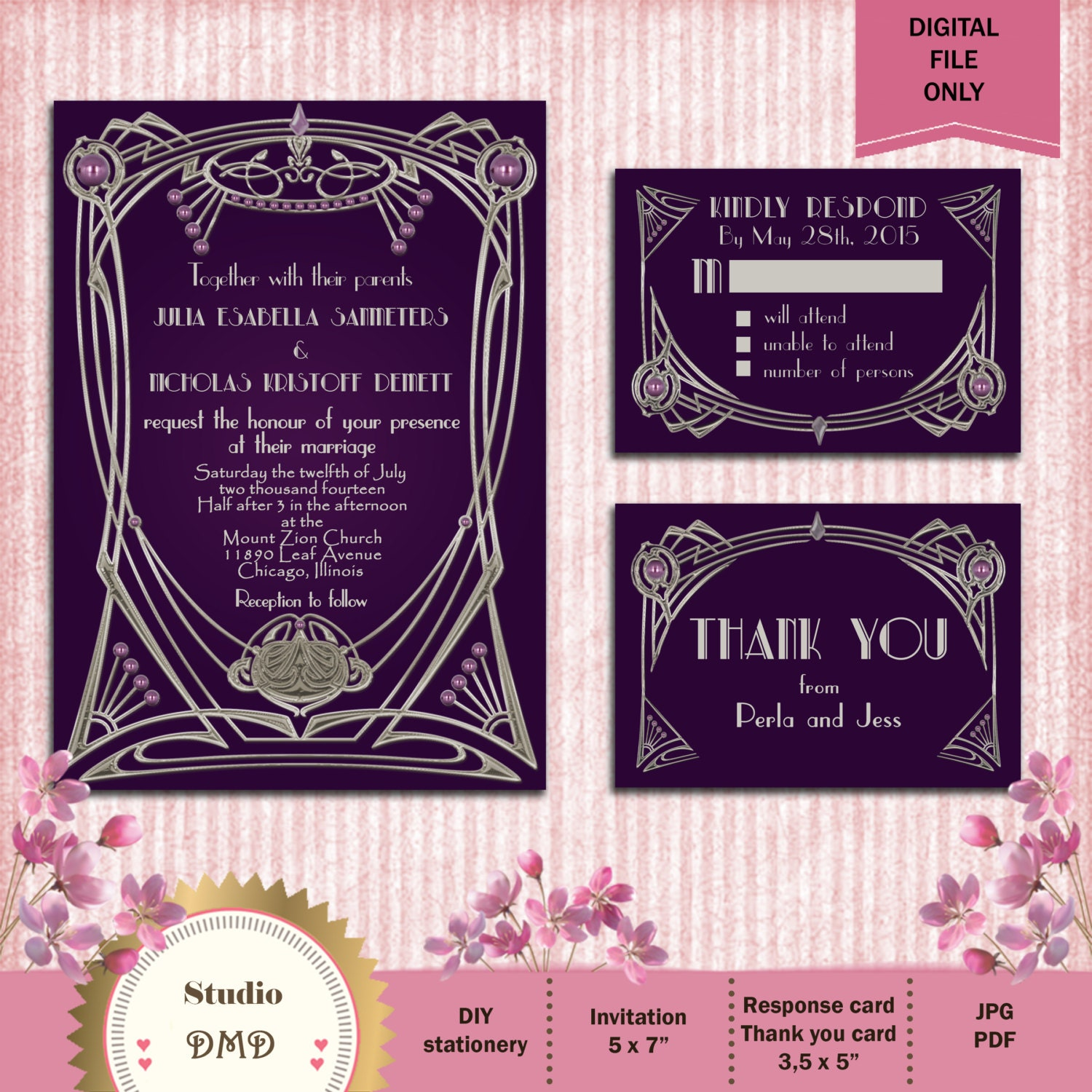 Great Gatsby Style Art Deco Wedding Invitation Suite Eggplant