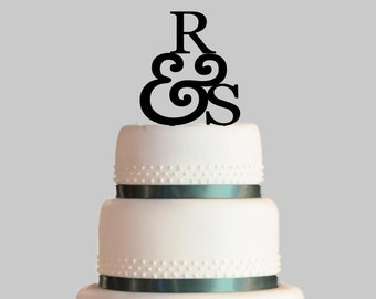 Personalized Wedding Cake Topper, Initials and Ampersand Cake Topper, Acrylic Cake Topper
