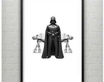 Dark Vader  Print - 11x17 Darth Vader Print - Modern Darth Vader Star Wars Print - Star Wars Darth Vader  Art