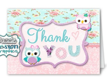 Shabby Chic Owls purple, pink and teal THANK YOU notecard | M2M made to match, coordinating matching notecard, #033 Instant Download