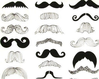 Mustache madness black, ivory fitted crib sheet