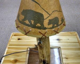 Custom Rustic Diamond Willow Log Table Lamp