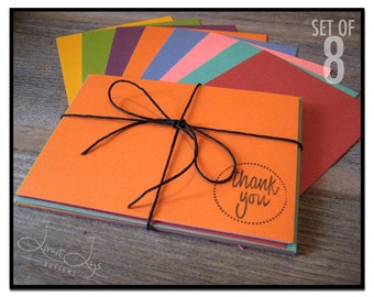 Thank You Cards with Envelopes, Flat Notecards and Envelopes, Thank You Cards Set, Stamped Note Cards and Thank You Notes, Set of 8