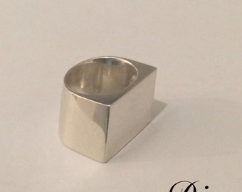 "Massive Sterling Silver Ring - ""Diag"""