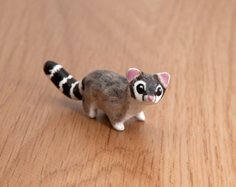 Ring-tailed cat or ringtail animal totem - Polymer clay animal OOAK figurine, cacomistle