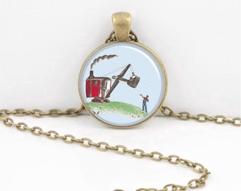 Mike Mulligan and his Steamshovel Classic Children's Story Glass Pendant Necklace or Key Ring
