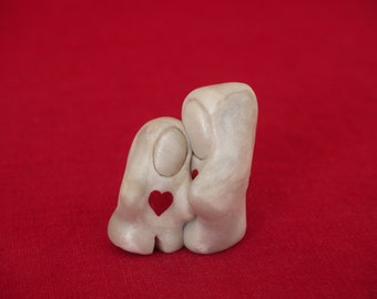 Handmade miniature Love gift, Lean On Me miniature sculpture, miniature Love sculpture, miniature Love figurine, red and white