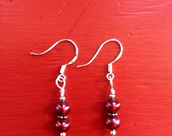 Red Freshwater Pearl Dangle Earrings