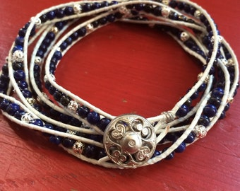 Blue and Silver Beaded Leather Wrap Bracelet