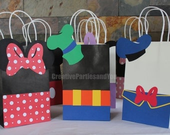 Mickey Mouse Favor Bags / Mickey Mouse Clubhouse Party Bags / Set of 12 Mickey and Friends