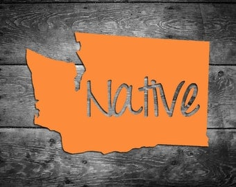 Washington Native Vinyl Sticker Car Window Door Bumper Decal Pride Home WA Seattle