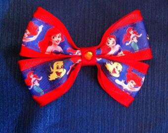 The little mermaid Ariel and Flounder hair bow