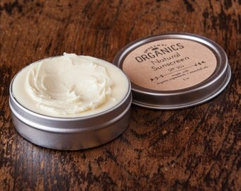 Natural SUNSCREEN - 2 oz tin // Organic, Non-toxic Ingredients for Natural Sunblocking Properties + Skincare