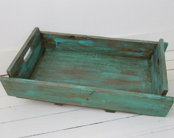 Wood tray with turquoise brown tones, rustic chic style