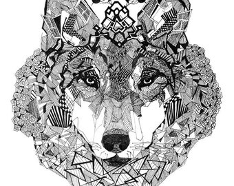 A3 poster with a wolf print. Great gift! For your home or cottage.