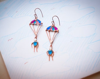 Copper earrings Parachutes