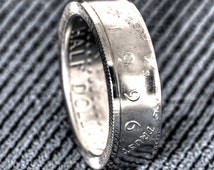 1996 Silver JFK Kennedy US Half Dollar Double Side Polished Coin Ring Size 8-18 Men 19th Birthday Gift 90% Silver Coin 19 Wedding Annivesary