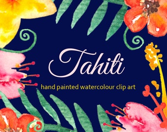Digital Watercolours clipart assortiment hand drawn. Set Tahiti. Romantic wedding Bright red, yellow, orange flowers blog cards, invitations