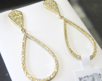 14K Gold Diamond Pear Teardrop Earrings, Push-Back Earrings 6J8065