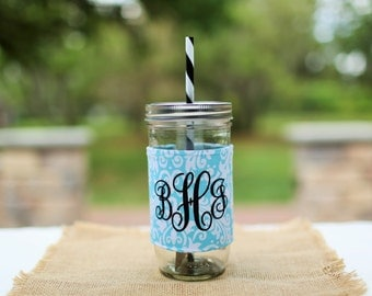Personalized Blue Damask Mason Jar Tumbler, Damask Monogram, Personalized Tumbler, Mason Jar Damask