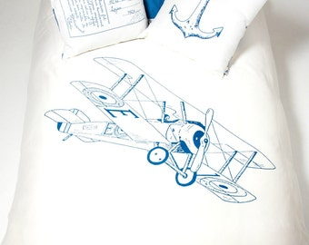 Biplane & Navy Stripes Kid Duvet Cover - 100% Sateen Organic Cotton
