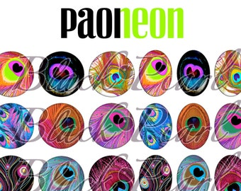 Paoneon - Page of digital images for cabochons - 60 pictures to print