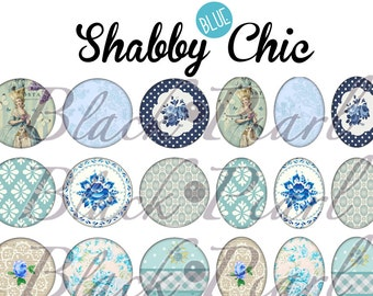Shabby • BLUE • Chic - Page of digital images for cabochons - 60 images