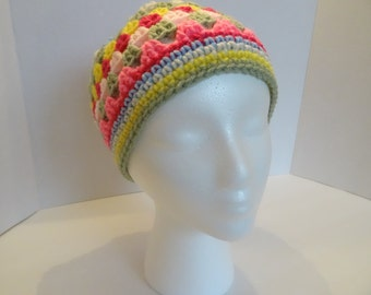 Pink, Rose, Blue, Green & Yellow Granny Square Hat