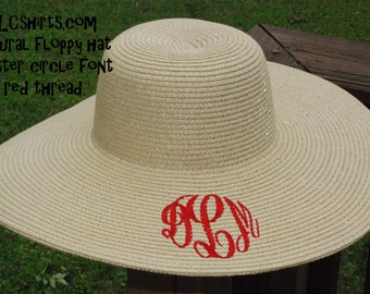 Natural Monogrammed Floppy Hat, custom beach summer spring floppy hat. Perfect for spring break and summer vacations. Sun hat monogram