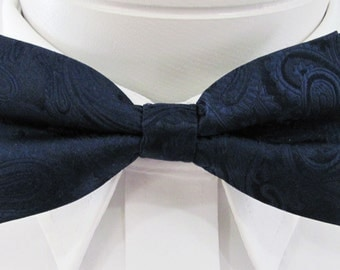 Mens Bowtie Midnight Navy Blue Paisley PreTied Mans Bow Tie Pre Tied