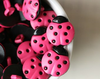 24pcs, 15 x 16 mm, Shocking Pink Laydbug Shank Back Button