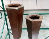 Vintage Copper Geometric Planter/Vases