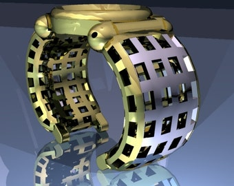 Watches bangles model CRUSADER in precious metals with worked a inlay/punching. Hand-ground and polished.