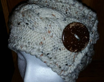 Knit cabled ear warmer