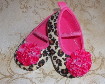 Hot Pink Leopard Baby Shoes with Flower - Cheetah Baby Shoes - Hot Pink Leopard Baby Shoes - Pink Leopard Outfit - Pink Leopard Tutu