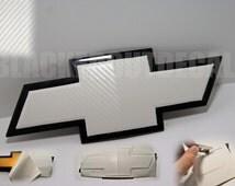 2  WHITE Carbon Fiber Chevy Bowtie Vinyl Overlay Sheets Emblem Decal Overlay Silverado Tahoe Suburban
