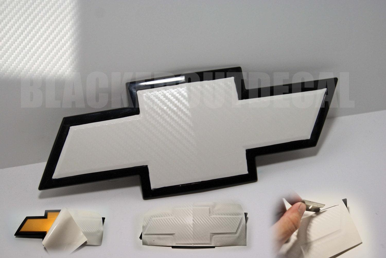 WHITE Carbon Fiber Chevy Bowtie Vinyl Overlay Sheets Emblem - Chevy silverado bowtie decal