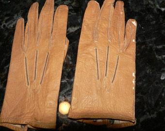 Antique Childs Gloves  or Antique  Dolls Gloves Tan Leather