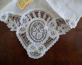 1940's 50's Vintage Brussels Lace White Bridal Hanky with Tag