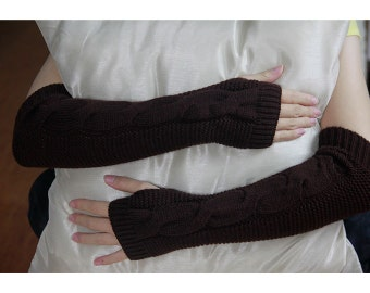 Hand-Brown Knitted Fingerless Gloves, Arm Warmers, Gloves, Knitted Arm Warmers, Cable Knit Arm Warmers, Fingerless Gloves 0701 6004