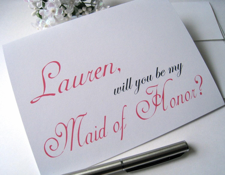 Honor Or Honour On Wedding Invitations: Personalized Maid Of Honor Invitation, Maid Of Honor Card