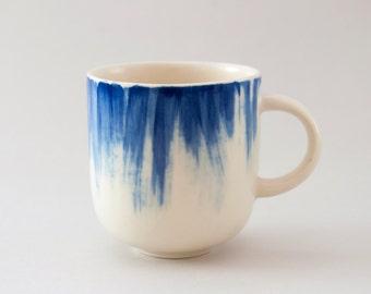 Handmade Ceramic mug with blue brushstrokes H: 3″ / Coffee mug / Hand painted ceramic mug / Tea cup / Stoneware cup