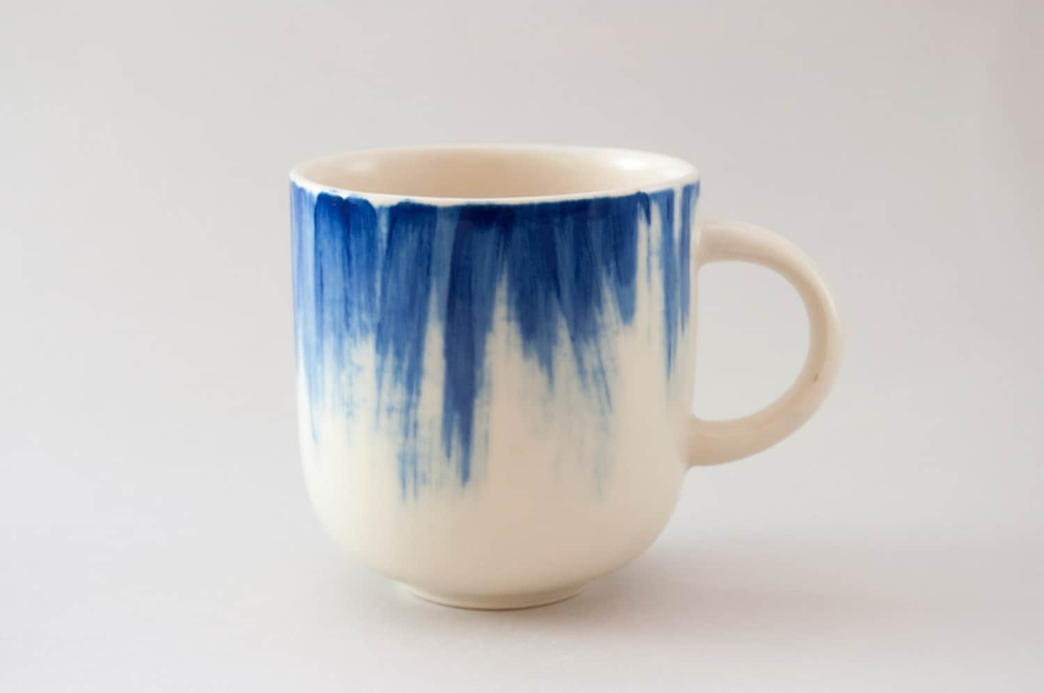 Handmade ceramic mug with blue brushstrokes h 3 by for How to paint ceramic mugs at home