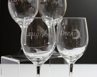Set of 4 Hand Etched Wine Glasses with 'Chalkboard Painted' stems