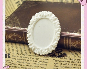 5pcs White Victorian Oval Resin  Frame Cameo Setting Flatback Cabochon 30mmx40mm