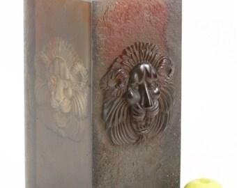 Large Daum Crystal Vase Pate De Verre Grande Modele Lion Heavy Art Glass